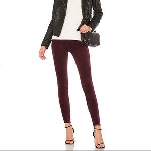 Rag & Bone Burgundy Velvet Skinny Jeans